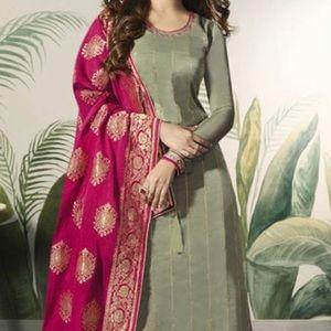 Dresses & Skirts - Light Green Georgette Palazzo Salwar Kameez